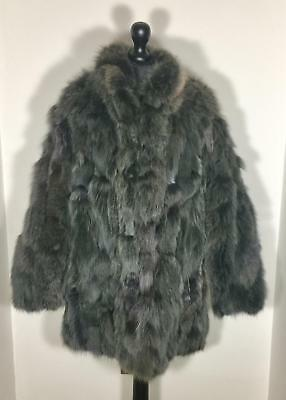 Real Arctic Blue Fox Fur Charcoal Gray Coloured Coat Jacket Poncho Bolero Shawl