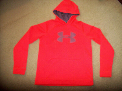 Nwot Under Armour Storm Boy's Loose Fit Orange Hooded Pullover Size Youth Xl