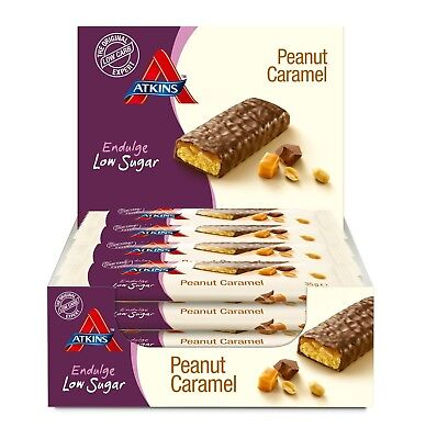 Low Carb Chocolate Snack, Atkins Peanut Caramel, 2.6g Net Per Bar, 15 x 35g,