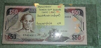 JB RFM 62521 Jamaica 2002 50 Dollars Bank Note Pick 79c UNC Condition. This is p