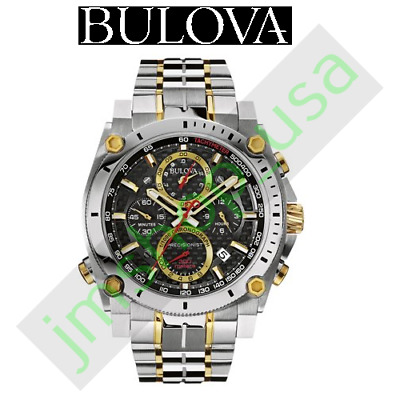 Bulova Men's 98B228 Black Dial Chronograph Analog Display Quartz Two Tone Watch