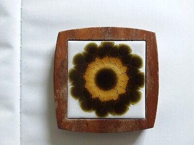 Vintage teak and tile coaster - Alan Wallwork tile?