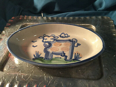 Vtg Handpainted MA Hadley pottery 11.5 in Oval serving bowl  - Country Cow