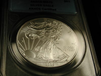 2009 S$1 ANACS-MS70 Silver Eagle ANACS Certified (WithBox)