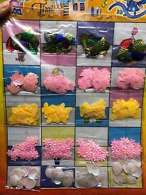 300pcs Sequins Shapes Scrapbooking Decoration Butterfly Leave Shell Flower AU
