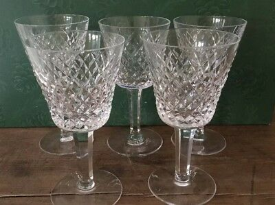 "SET OF 5 Waterford Ireland Crystal ALANA CLARET 5 7/8"" WINE GLASS GOBLET"