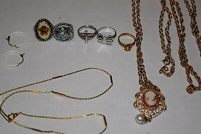 Estate Vintage SARAH COVENTRY & Misc Jewelry Lot Necklaces Rings Earrings Cross