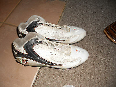 used Men's Lacrosse Warrior 2nd Degree White & Black Cleats Size 9D