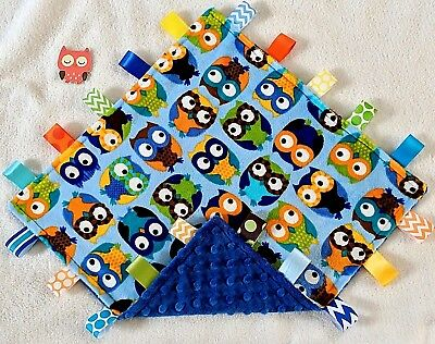 Double Minky! Blue Owl Minky & Blue Minky Taggie Tag Security Blanket Baby