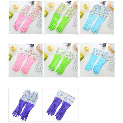 Household Rubber Dish Washing Gloves Long Cuff Cleaning Flock Lined Gloves