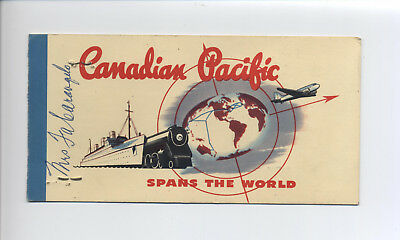 Vintage Canadian Pacific Railroad Ticket With Holder ~ Skagway To Carcross ~Nice