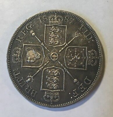 Great Britain 1887 Double Florin (Arabic 1), XF condition