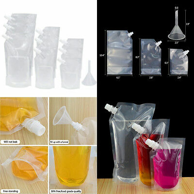 9Pcs Reusable Plastic Drink Liquor Pouch Flasks Cruise Bags Kit with Funnel Free