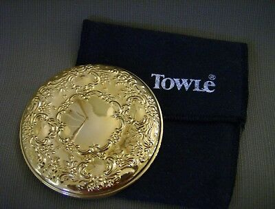 Towle Gold Plated Pocket/Purse Mirror w/Felt Pouch