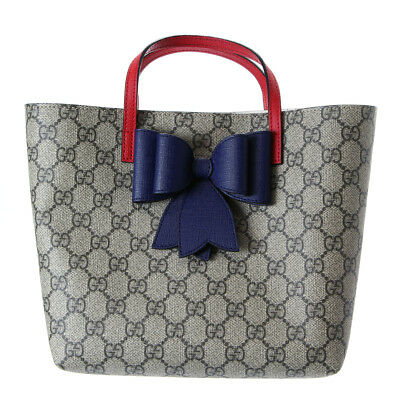 4f37b3f3110 100% Authentic Gucci Kids GG Supreme Bow Tote Handbag 457232 - Entrupy  Certified