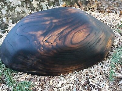 Hand Crafted Wooden Bowl Charred Black Cherry Not Turned Food Safe All Natural