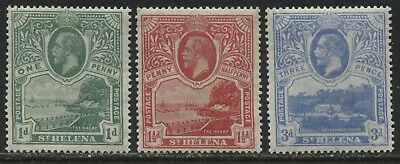 St. Helena KGV 1922 1d, 1 1/2d, and 3d mint o.g.