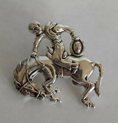 Vintage Signed Best Cowboy Rodeo Horse Bucking Bronco Brooch Pin Silver Tone