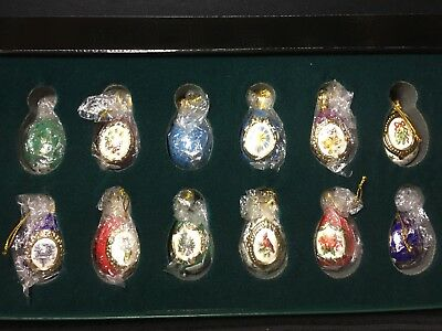 House of FABERGE 12 Christmas Egg Ornament Collection - The Franklin Mint