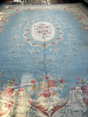 Authentic Fine Excellent Antique French Style Aubusson Floral Wool Hand Made RUG