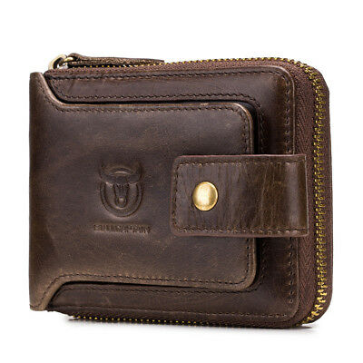 Genuine Leather Men RFID Blocking Wallet Casual Purse Extra Capacity Bullcaptain