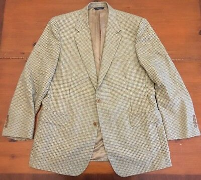 Brooks Brothers Italy Houndstooth Wool Sport Coat sz 45R Tan Brown