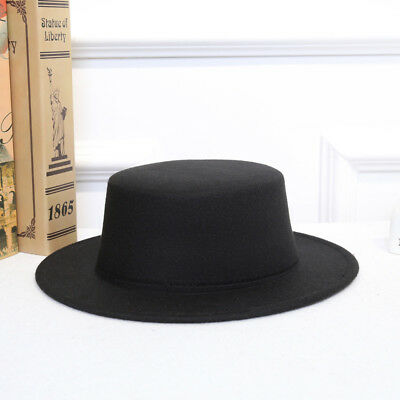 Women Vintage Classic Retro Jazz Lady Warm Fedoras Cotton Felt Caps Flat  Top Hat 58554b0cd8a3