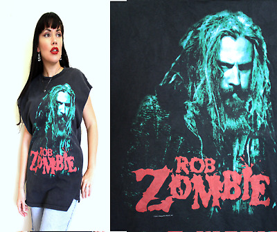 ROB ZOMBIE WHITE Vintage T Shirt bt14 The sinister Urge Tour Worn Holes faded XL