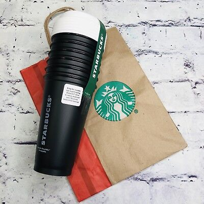 Starbucks 16oz Reusable Cups With Lids 5 Black Coffee Cup Mug NEW!