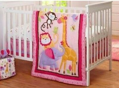 🐘 NOJO Tumble Jungle for Baby Girls 4-pc Crib Bedding Pink Flowers Never Opened