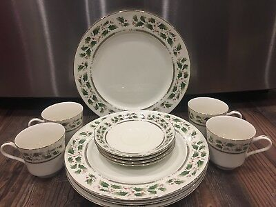 Christmas Royal Limited Holly Holiday 12 Pc Dinner Set Dishes Lion Stamp *NIB*