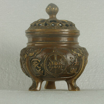 Old Chinese Brass Handwork Carved Hollow Lotus Incense Burner With XuanDe Mark+a