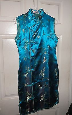 CHINESE SILK DRESS CHEONG~SAM QIPAO Marine Blue Green LARGE