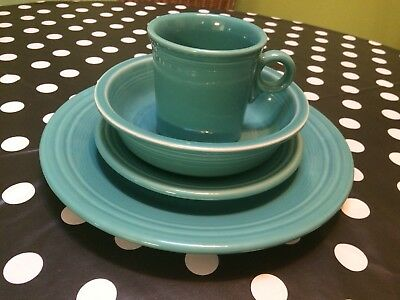 Homer Laughlin Fiesta Turquoise FiestaWare 4 PC Placesetting Plates Cup Bowl