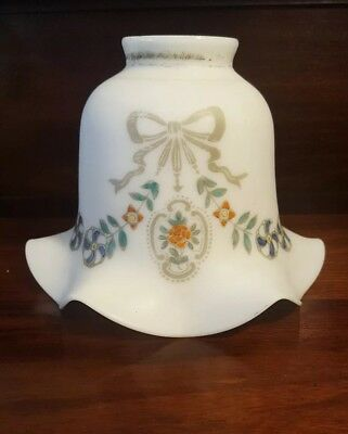Antique Milk Glass Fitter Light Shade Hand Painted Shabby