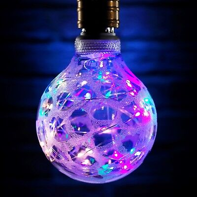 Auraglow Decorative Multi-Coloured LED Starry Sky String Patterned Glass Bulb -