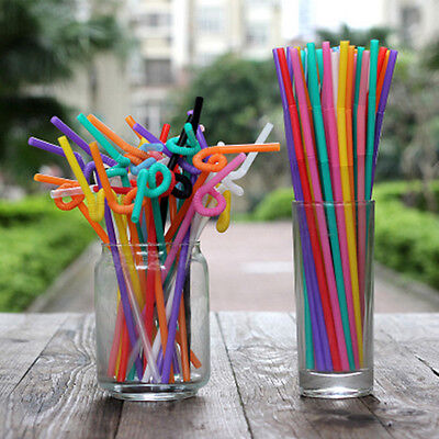 100* DIY Straw Multicolor Long Bendy Straight Drinking Straws Home Bar Cocktail
