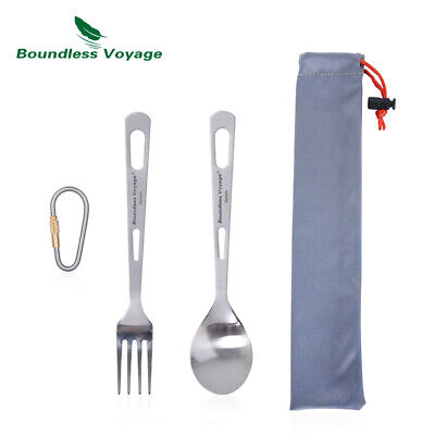 Portable Knife Spork Chopsticks Spoon Fork Lightweight Titanium Cutlery Set