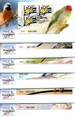 Thailand 2018 World Stamp Exhibition BIRDS set (6) Mini Sheet FDC Low Numbers
