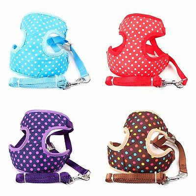 Cute Pet Dog Harness Vest Bling with Collar Leashes Dot Breathable Mesh Harness