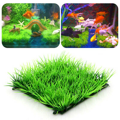 Lifelike Green Plastic Water Grass Plant Lawn Fish Tank Landscape Aquarium Decor