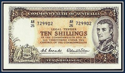 Australia 10 shilling Paper Banknote Coombs/Wilson 1961  AH/26-729902 R-17,