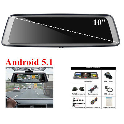 """4CH Android 5.1 1080P 10"""" Car DVR Rearview Mirror Camera Video Recorder BT WIFI"""