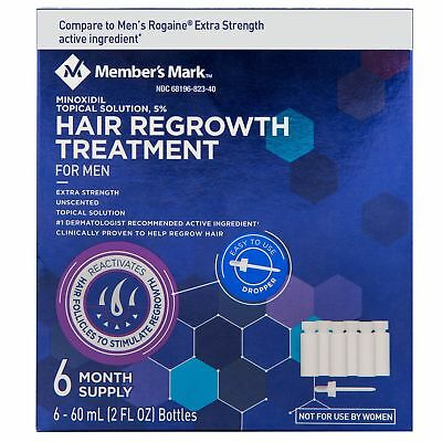 Minoxidil 5% Extra Strength Men 6 Month Supply Hair Regrowth Solution 2fl.oz.6ct