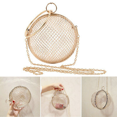 Women Hollow Ball Shaped Party Prom Handbag Purse Ladies Evening Clutch Cage Bag