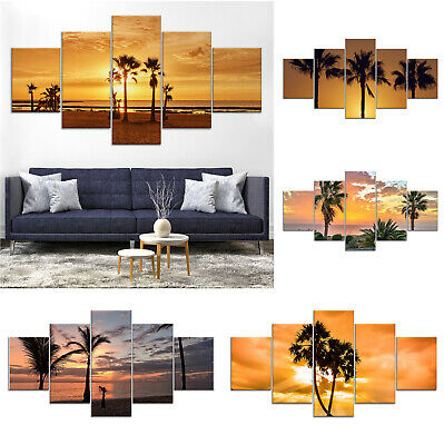 Palm Trees Sunset Seascape Canvas Print Painting Framed Home Decor Wall Art 5P