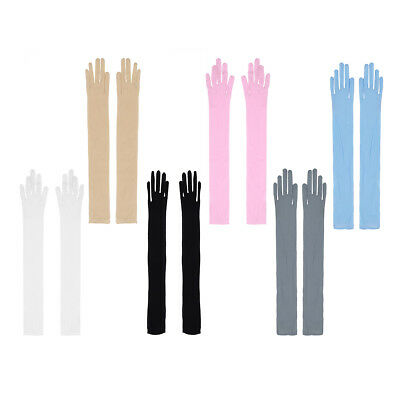 Ladies Mesh Stretchy Long Gloves See Through Womens Sun Protection Opera Costume