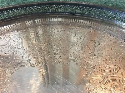 Vintage Large Silver Plated Gallery Tray 18.5in
