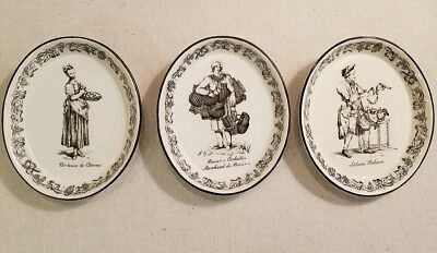 Mottahedeh Design Italy 3 Charming Black and White Transfer Oval Wall Plates