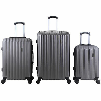 3Pcs Luggage Travel Set Bag Lock ABS Trolley Spinner Carry On Suitcase Grey